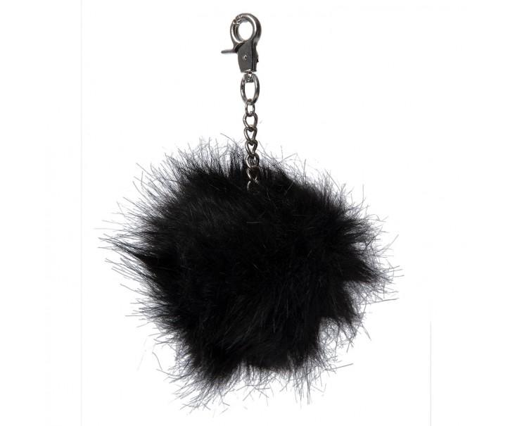Přívěsek na klíče chlupatá koule černá - 10cm