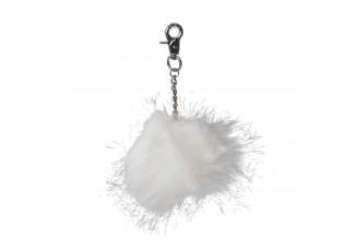 Přívěsek na klíče chlupatá koule bílá - 10cm