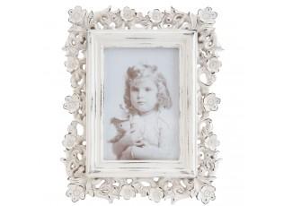 Fotorámeček bílý s patinou a kytičkami -20*2*24 / 10*15 cm