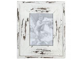 Dřevěný fotorámeček bílý s patinou - 29*34 / 15*21 cm