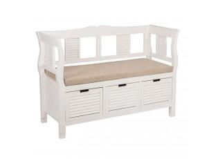 Bílá devěná lavice - 113*45*83 cm