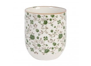 Kalíšek na čaj zelená kvítka - 6*8 cm,  0,1L