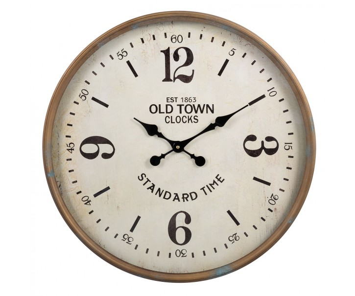 Kovové kulaté hodiny Old town - Ø 60*6*60 cm
