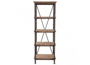 Kovový regál s dřevěnými policemi  - 60*38*173 cm
