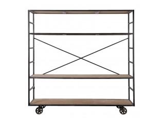 Kovový regál na kolečkách s dřevěnými policemi  - 202*40*201 cm