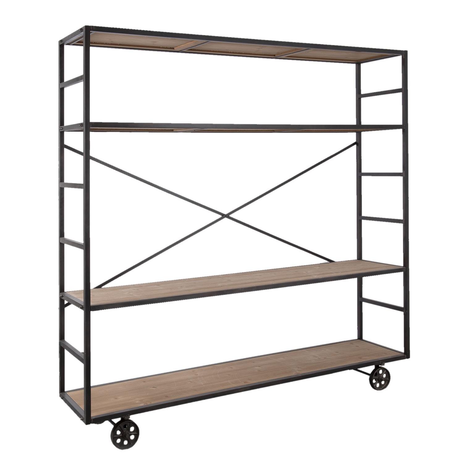 kovov reg l na kole k ch s d ev n mi policemi 202 40 201 cm. Black Bedroom Furniture Sets. Home Design Ideas