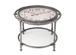 Kovový stolek s hodinami - Ø 60*44 cm