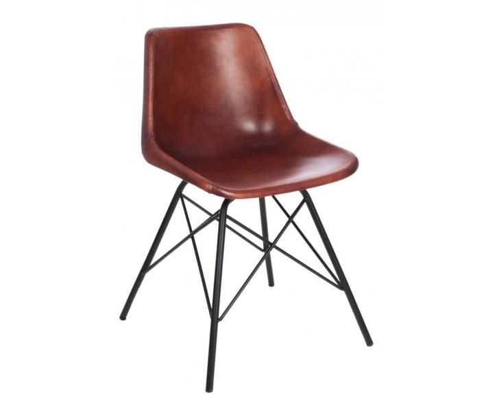 Kožená židle CROSS s kovovou konstrukcí -  51*51*79cm