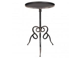Kovový černý odkládací stolek  Forged - Ø 42*70 cm