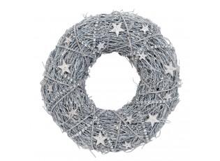 Vánoční ratanový věnec s hvězdičkami - Ø 24 cm
