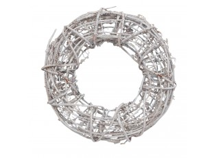 Ratanový věnec šedý s patinou - Ø 30*7 cm