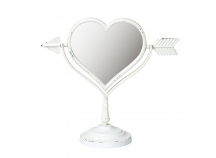 Bílé kosmetické zrcadlo srdce - 34*13*33 cm
