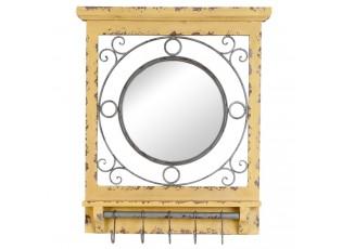 Žluté zrcadlo s háčky a patinou - 66*10*80 cm