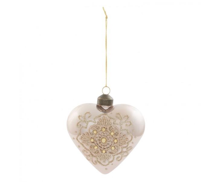 Vánoční ozdoba srdce s krajkou - 9*9 cm- sada 4ks