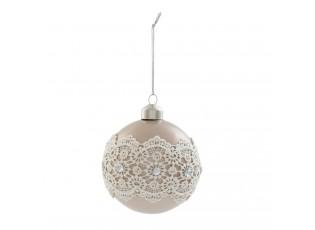 Vánoční ozdoba koule s krajkou - Ø 8 cm- sada 4ks