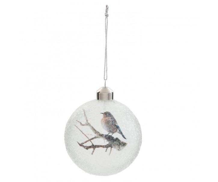 Vánoční ozdoba koule s ptáčkem  - Ø 8 cm - sada 4ks