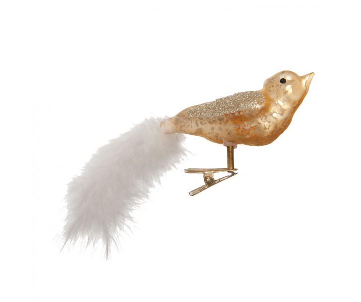 Vánoční ozdoba ptáček s peříčkem  - 15*4*6 cm - sada 6ks