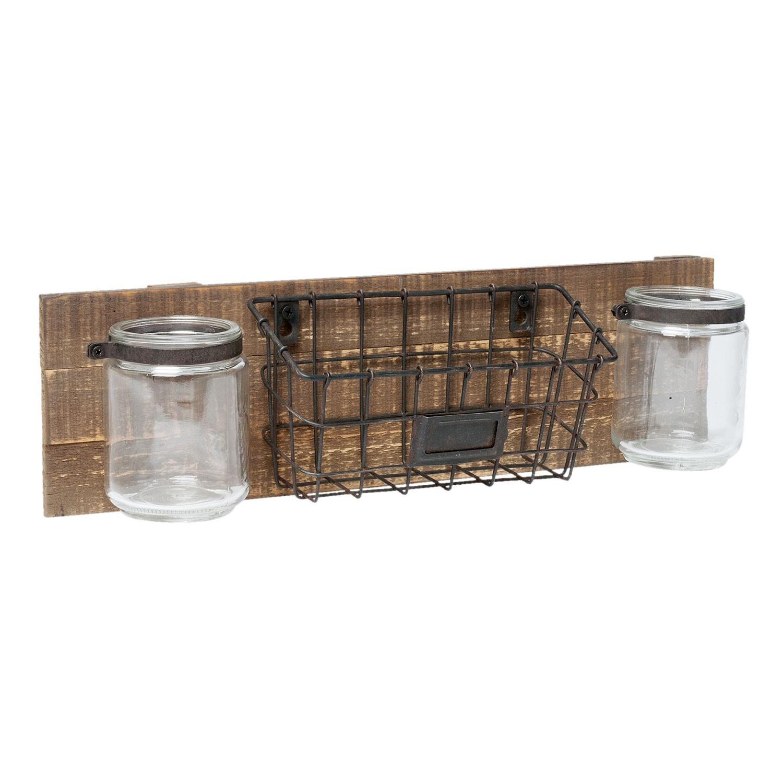 Dřevěná závěsná polička s košíkem a sklenicemi - 45*11*13 cm