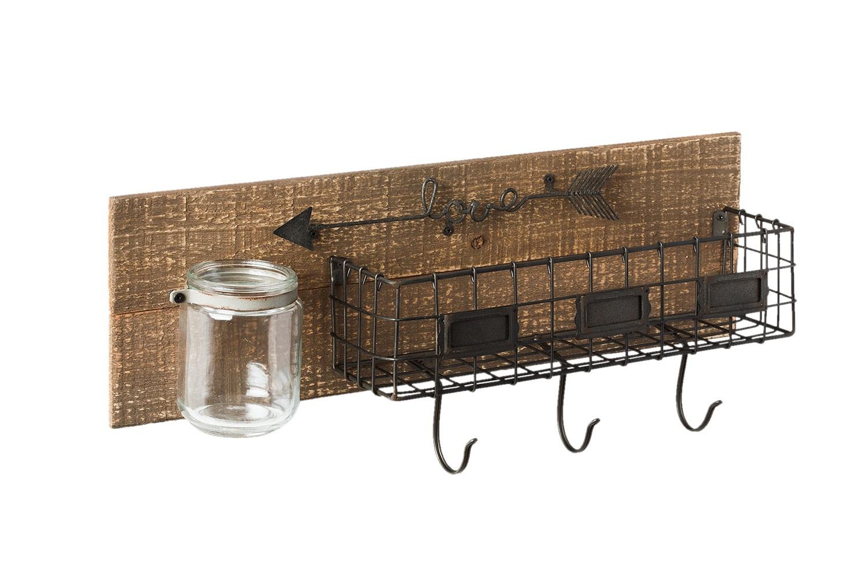Dřevěná závěsná polička s košíkem a sklenicí - 51*12*22 cm