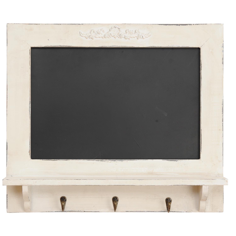 Tabulka s poličkou a háčky - bílá patina - 55*8*48 cm