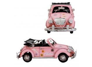 Kovový model růžového kabrioletu - 27*11*10 cm