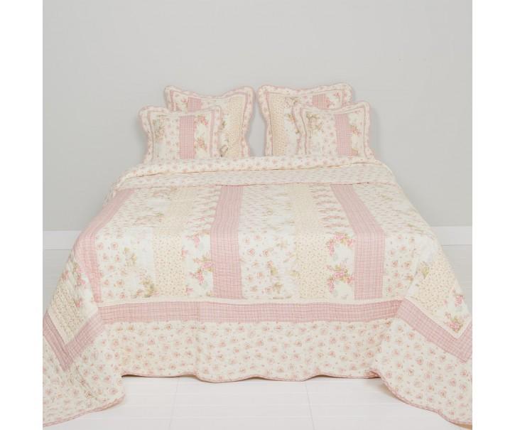 Patchwork přehoz na jednolůžkové postele Heart Roses - 140*220 cm