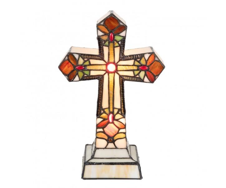Stolní lampa Tiffany Kříž - 22*34 cm 2x E14/ 7W