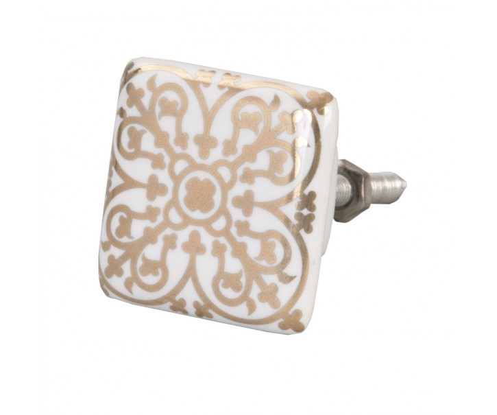 Keramická úchytka se zlatým ornamentem - 3,5*3,5 cm
