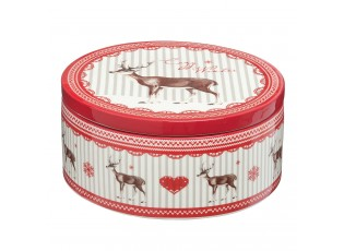 Keramický box s jelenem Cosy Winter - Ø 16*7 cm