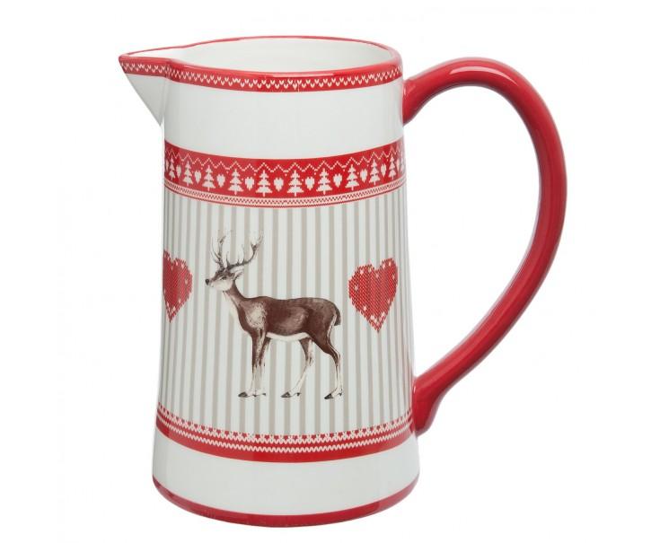 Keramický džbán s jelenem Cosy Winter - 20*12*19 cm / 1.25 L
