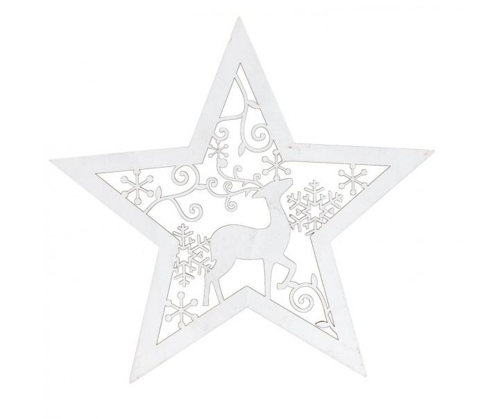Led dřevěná stolní lampička Hvězda - 27*5*27 cm / 2xAA