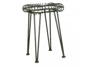 Zelená kovová stolička s patinou - 31*31*47 cm