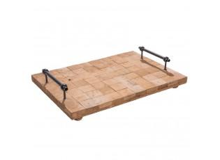 Dřevěný podnos s kovovými rukojet´mi  - 40*28*8 cm