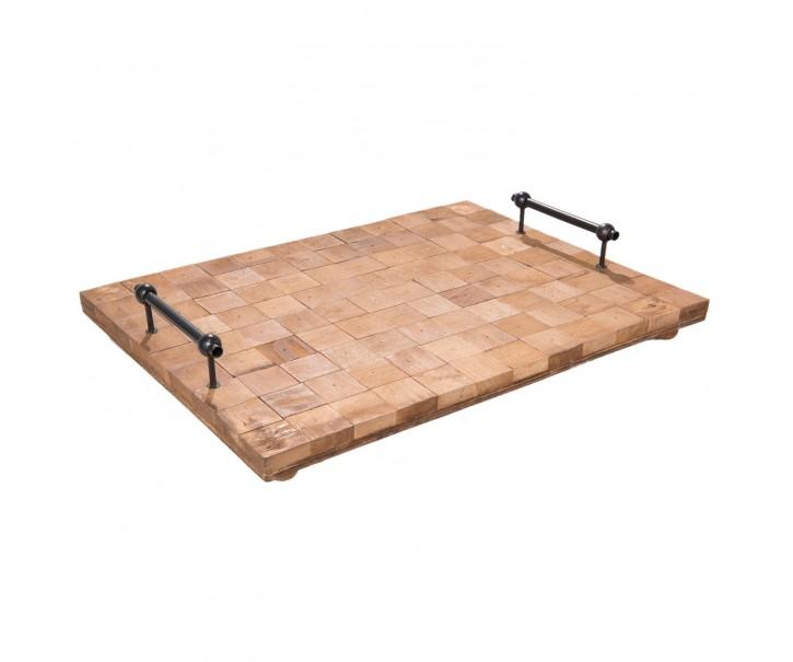 Dřevěný podnos s kovovými rukojet'mi - 49*36*8 cm