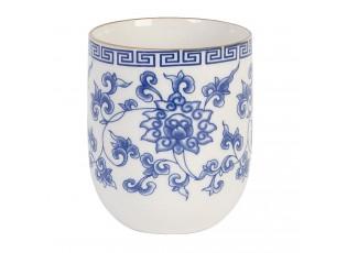Kalíšek na čaj modré květy - Ø 6*8 cm / 0,1L
