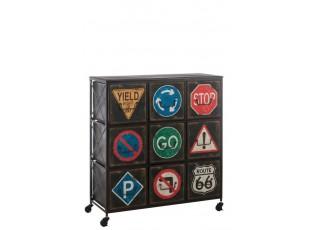 Zásuvkový regál TRAFFIC SIGN na kolečkách - 92*38*100 cm