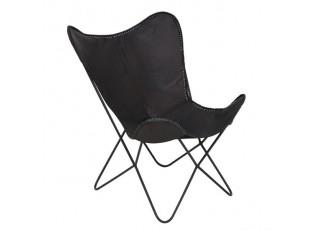 Černé kožené křeslo BUTTERFLY - 75*87*86 cm
