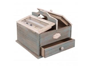 Dřevěná krabička na šitíčko - 25*25*21 cm