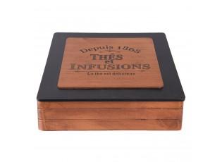 Dřevěný zásobník na čajové sáčky - 24*24*7 cm