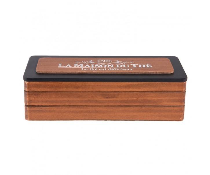 Dřevěný zásobník na čajové sáčky - 22*8*7 cm