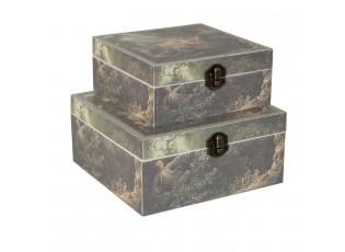 Sada 2 dřevěných krabiček - 15*15*6 / 18*18*8 cm