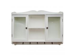 Nástěnná dřevěná skříňka s patinou - 90*20*70 cm