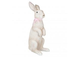 Dekorace  Zajíc s růžovou mašlí - 21*16*48 cm