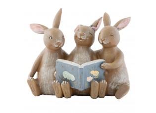Dekorace Zajíci s knihou - 14*10*12 cm