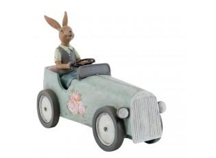 Dekorace Zajíc v autě - 22*9*17 cm