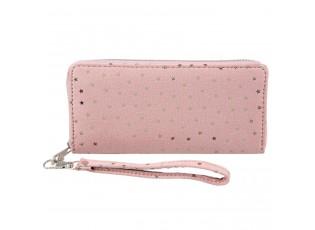 Růžová peněženka Slimmering stars - 19*9 cm