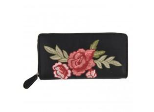 Černá peněženka Rose embroidery - 19*9 cm