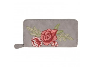 Šedá peněženka Rose embroidery - 19*9 cm