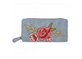Modrá peněženka Rose embroidery - 19*9 cm