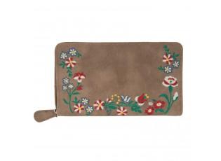 Hnědá peněženka Boho flowers - 11*19 cm